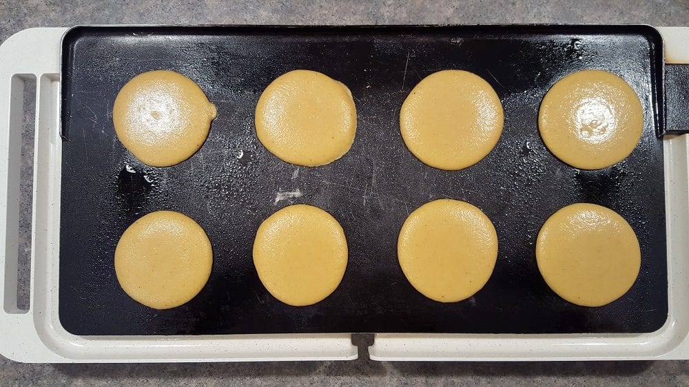 Pumpkin Pancakes on griddle