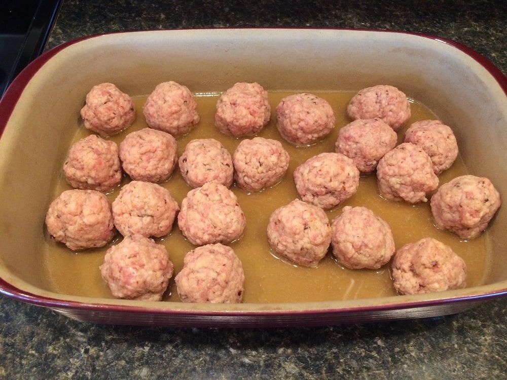 Ham balls prepared