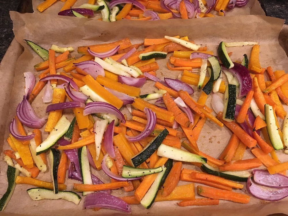 roasted-veggie-sticks-on-pans