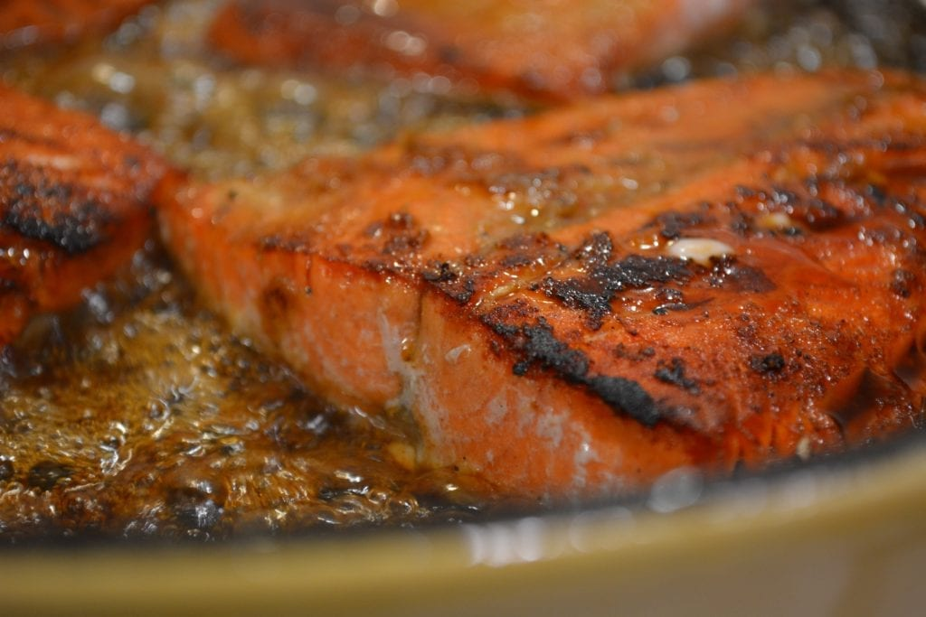 frying maple glazed salmon