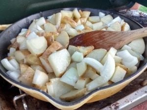 potatoes and onion skillet camping meal planning